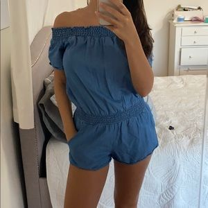 Blue jean off the shoulder romper